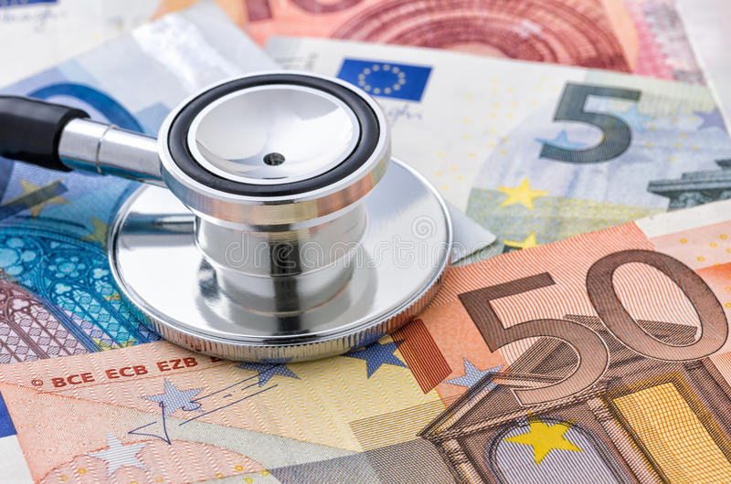 stethoscope on euro bills stock image