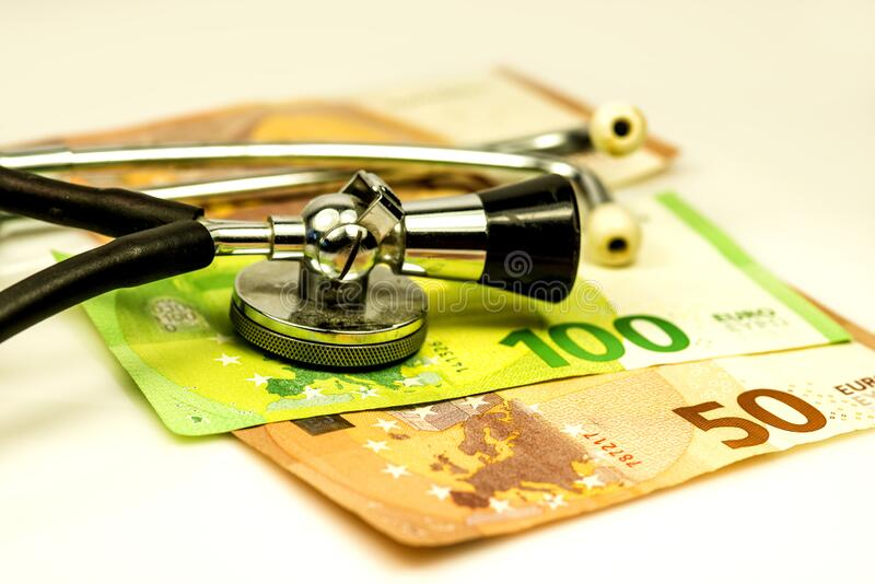 Stethoscope with euro bills royalty free stock photo