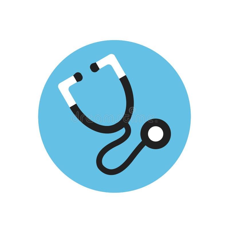 Stethoscope flat icon. Round colorful button, Cardio diagnostics circular vector sign, logo illustration. royalty free illustration