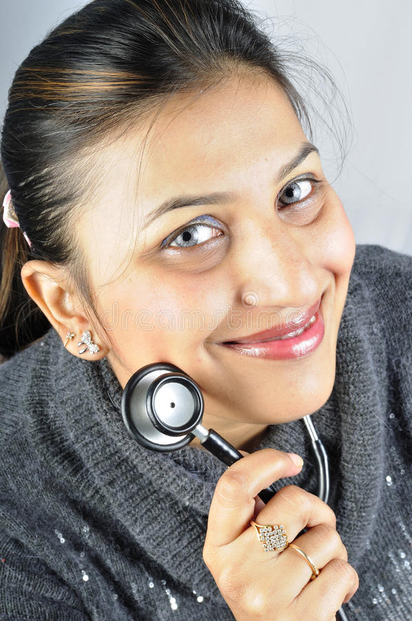Download Stethoscope girl stock photo. Image of model, lips, fashionable - 12699714