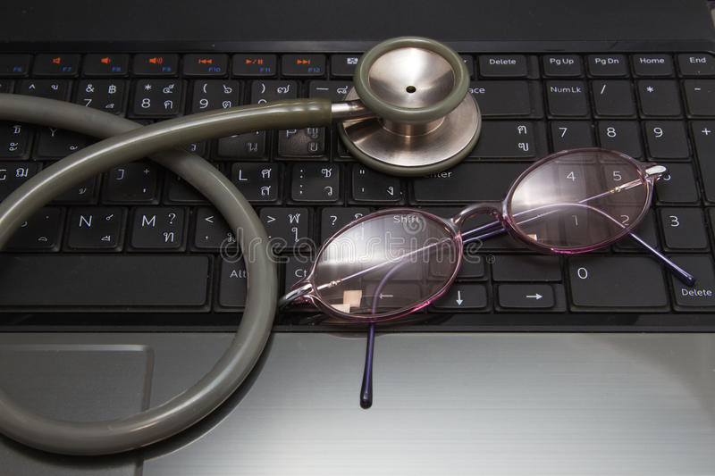 Stethoscope and glasses