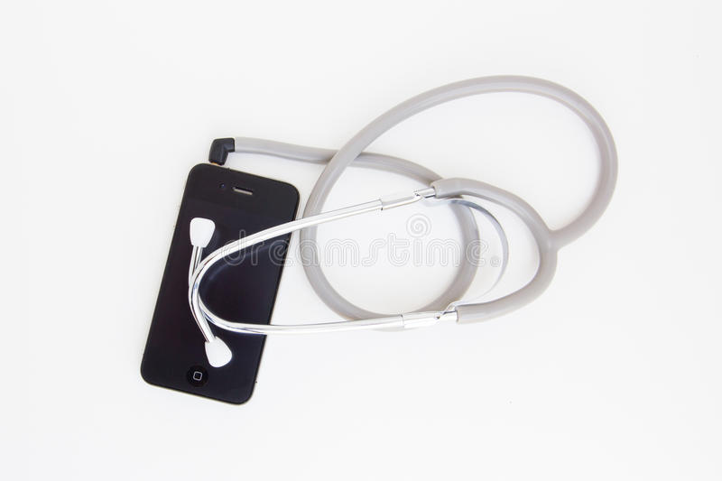 Stethoscope headphone for smartphone. For any doctors who love music stock image
