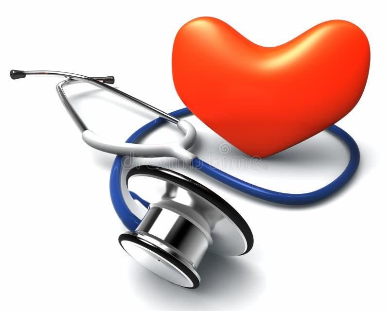 Stethoscope and heart. On white vector illustration