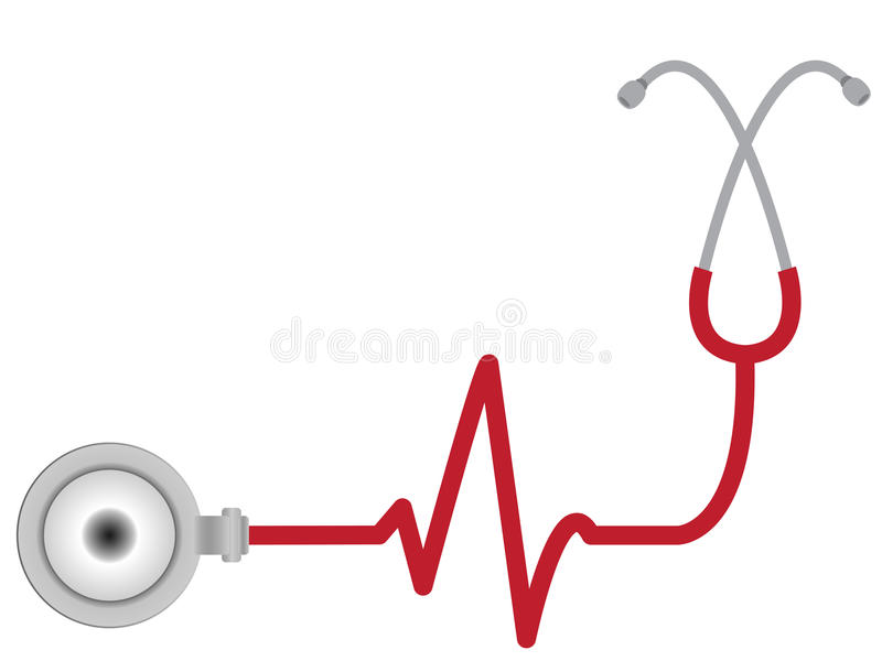 Stethoscope with heart beat stock images
