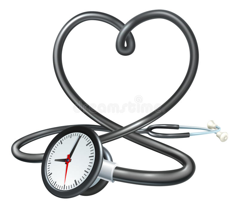 Stethoscope Heart Clock Concept royalty free illustration