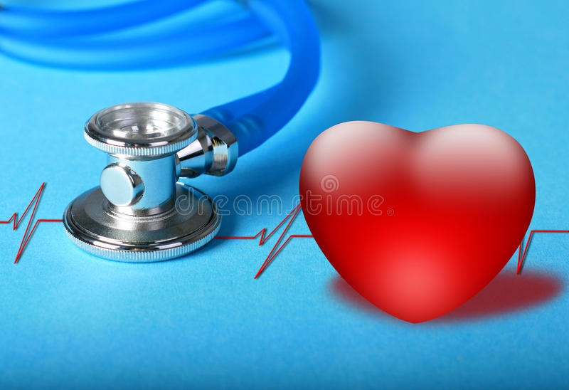 Stethoscope and heart diagram. Stethoscope and heart diagram over blue background royalty free stock photos