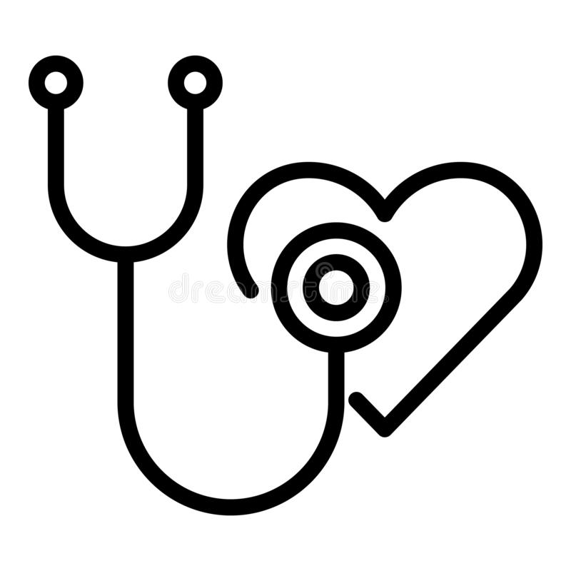 Stethoscope and heart icon, outline style. Stethoscope and heart icon. Outline stethoscope and heart vector icon for web design isolated on white background stock illustration