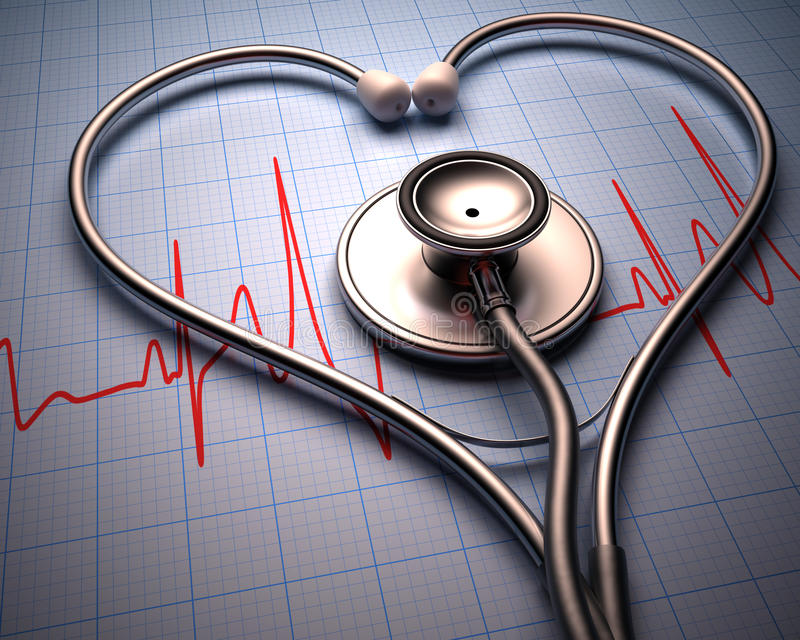 Stethoscope Heart Shape. Stethoscope in shape of heart on a graph of the patient's heartbeat