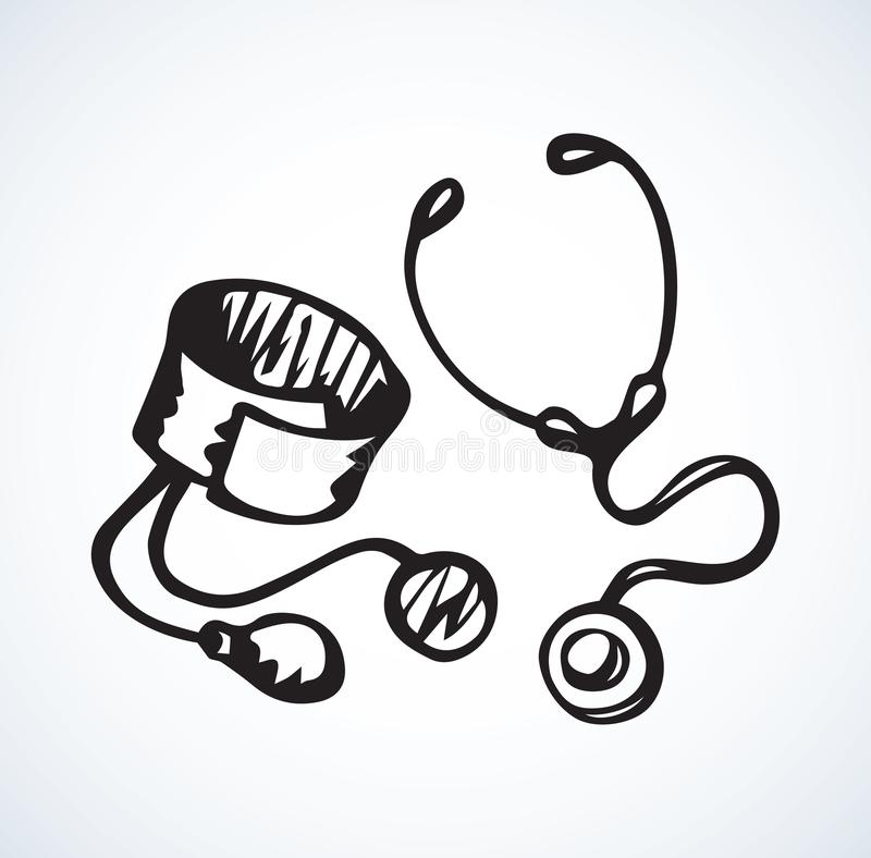 Stethoscope icon. Vector drawing. Cardio beat stethescope on white background. Web outline logo concept. Freehand linear black ink hand drawn picture emblem stock illustration