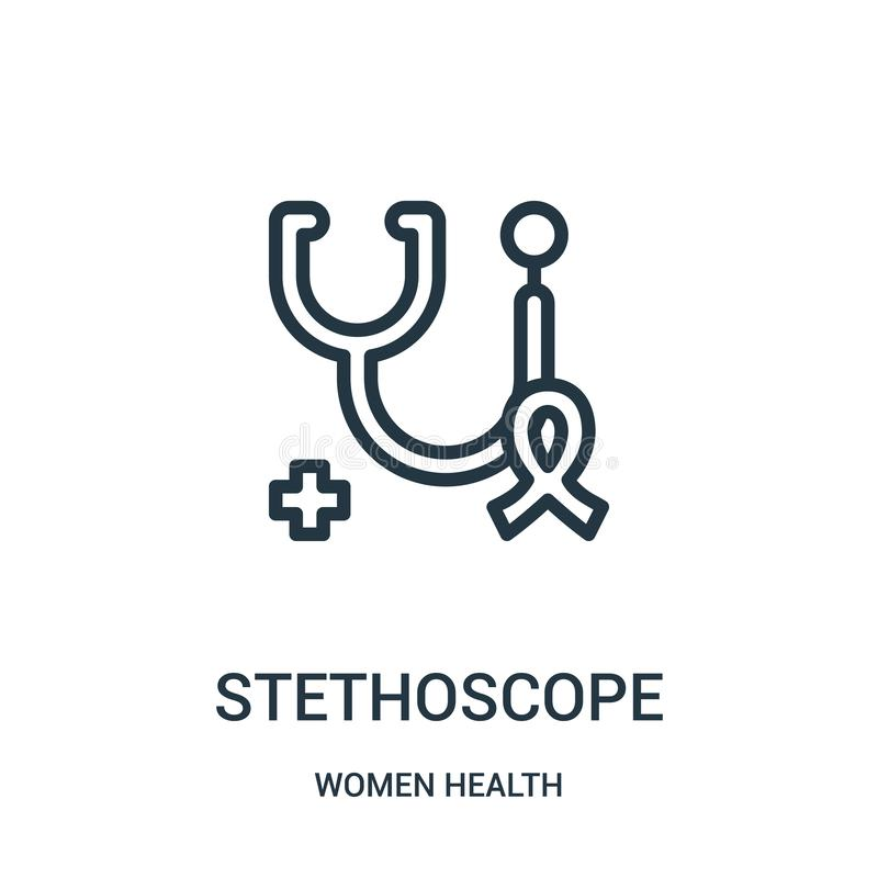 stethoscope icon vector from women health collection. Thin line stethoscope outline icon vector illustration stock illustration