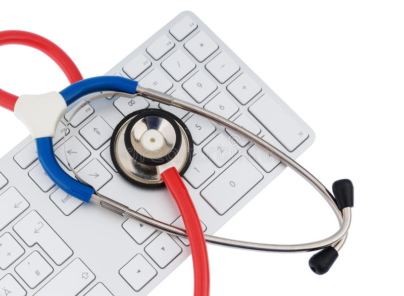 Stethoscope and keyboard of a computer royalty free stock images