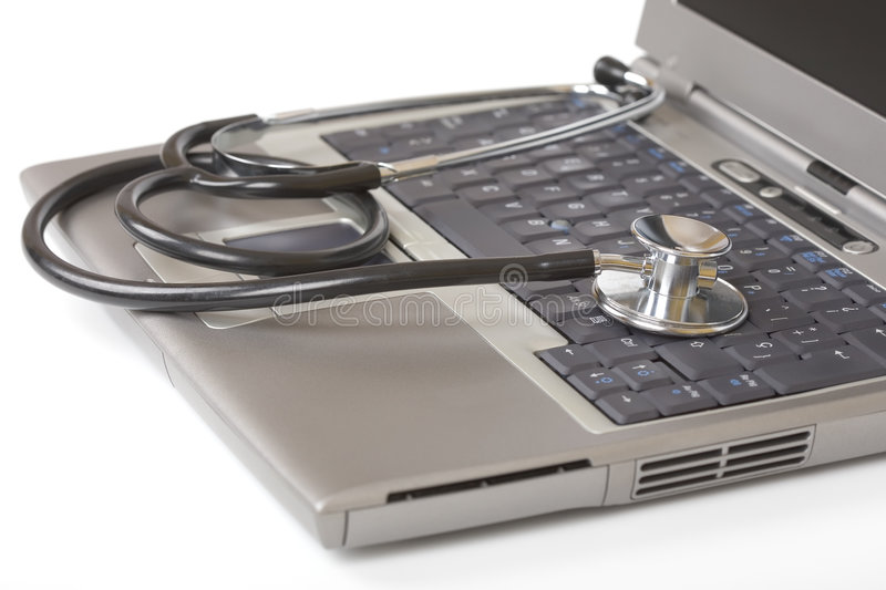 Stethoscope on a laptop. Tech support concept royalty free stock images