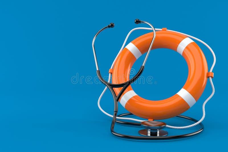 Stethoscope with life buoy. Isolated on blue background. 3d illustration vector illustration