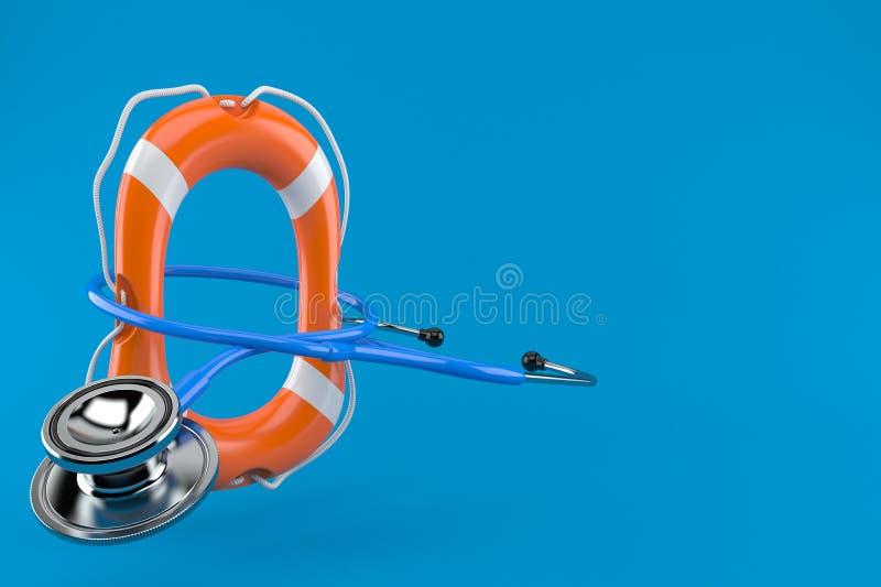 Stethoscope with life buoy. Isolated on blue background. 3d illustration royalty free illustration