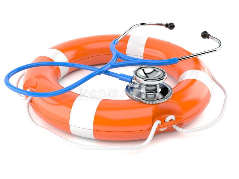 Stethoscope with life buoy. On white background royalty free illustration