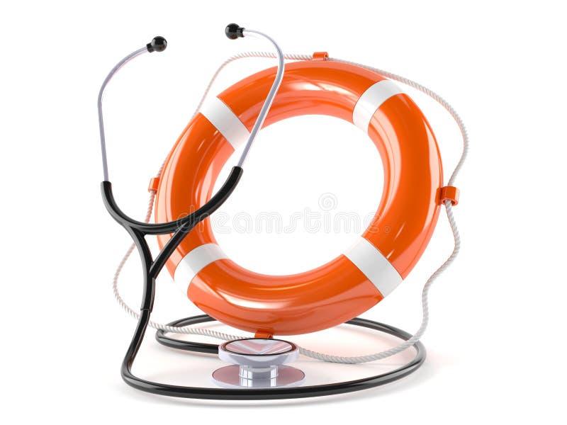 Stethoscope with life buoy. On white background stock illustration