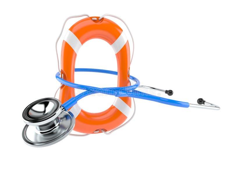Stethoscope with life buoy. On white background vector illustration