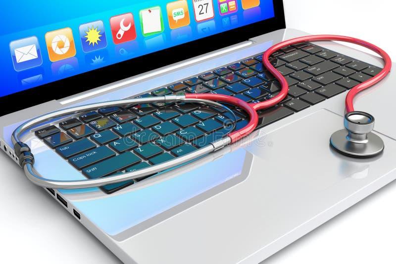Stethoscope lying on laptop stock illustration