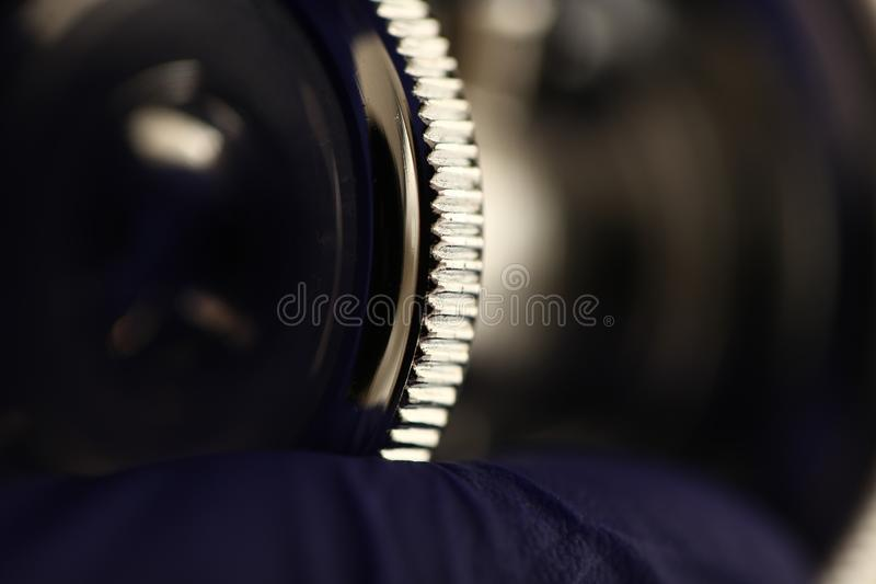 Stethoscope medical equipment in doctor hand close up. Modern stethoscope medical equipment in doctor hand close up stock images