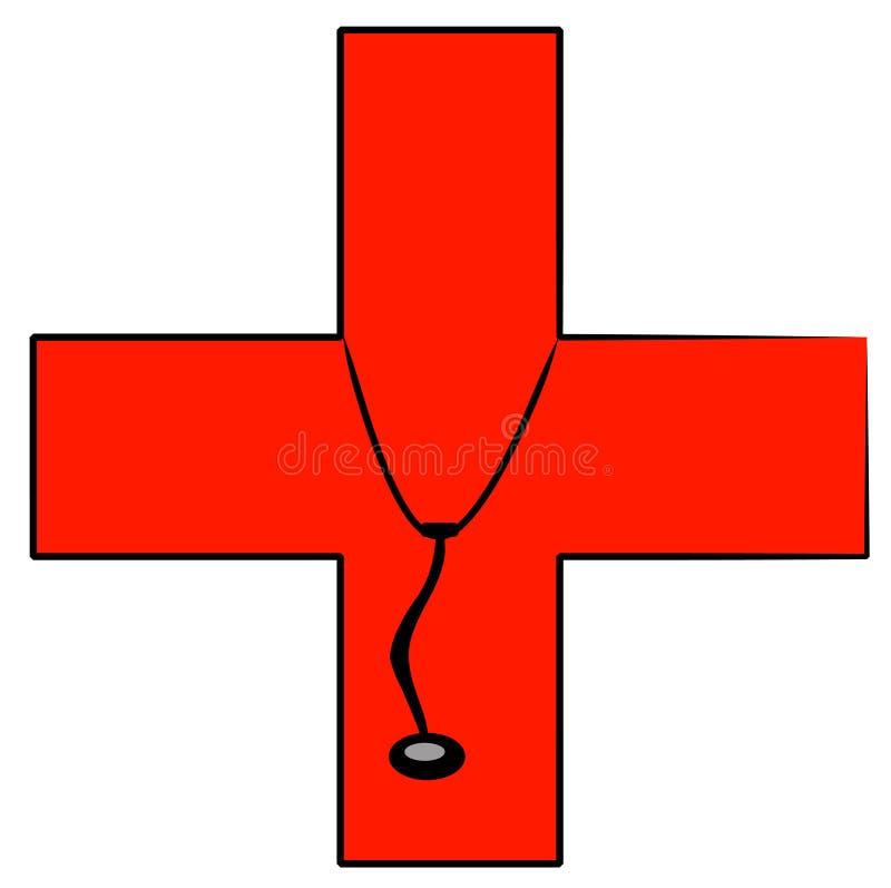 Stethoscope on medical sign royalty free illustration