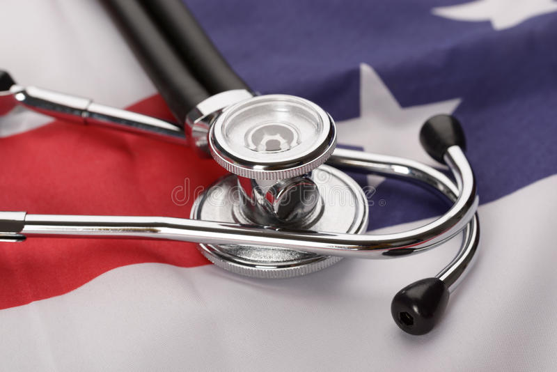 Stethoscope over american flag royalty free stock photos