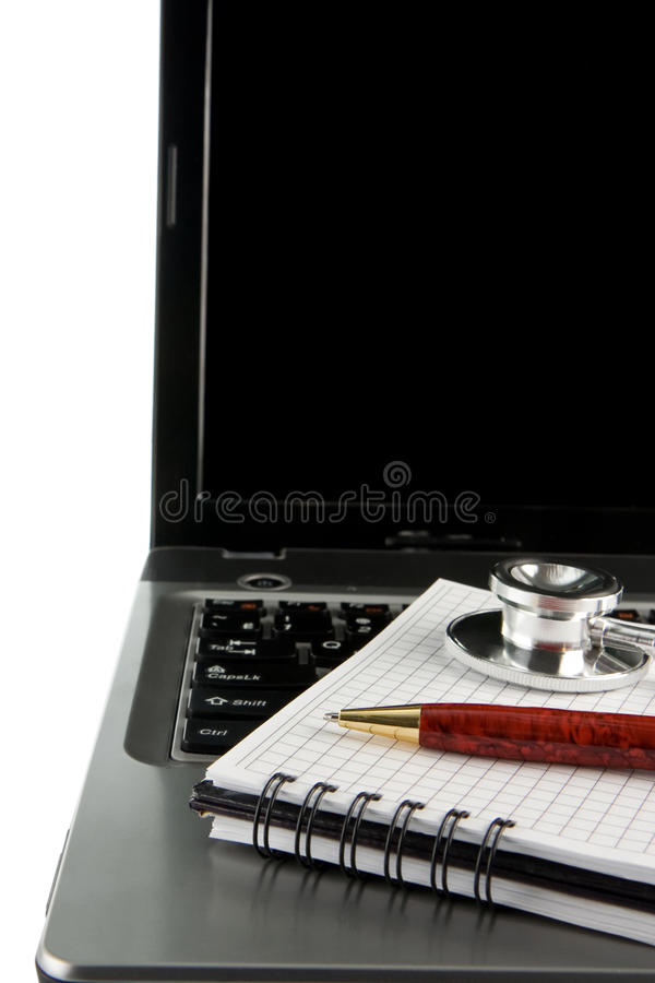 Download Stethoscope And Pen At Notebook Laptop Stock Photo - Image of exam, keyboard: 17862012