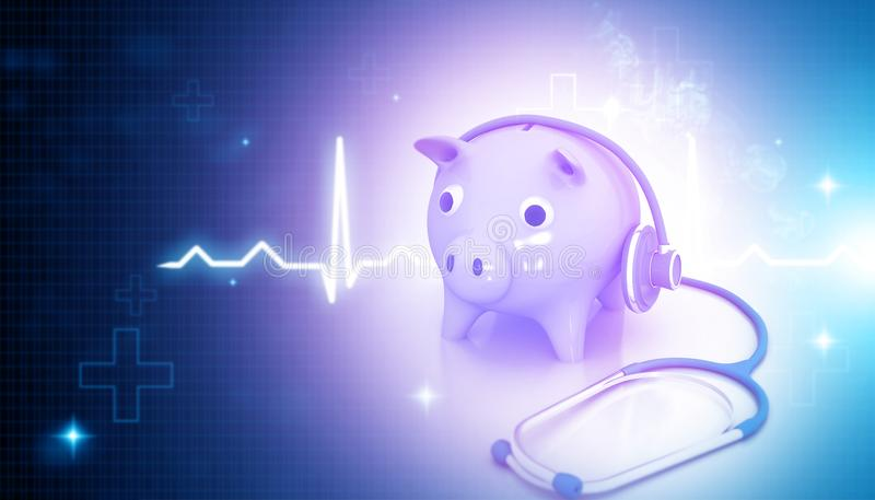 Stethoscope with piggy bank. On blue medical background. 3d illustration royalty free illustration