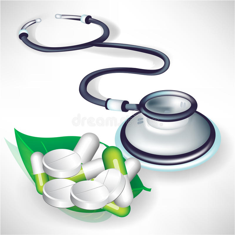 Stethoscope and pills on leaf royalty free illustration