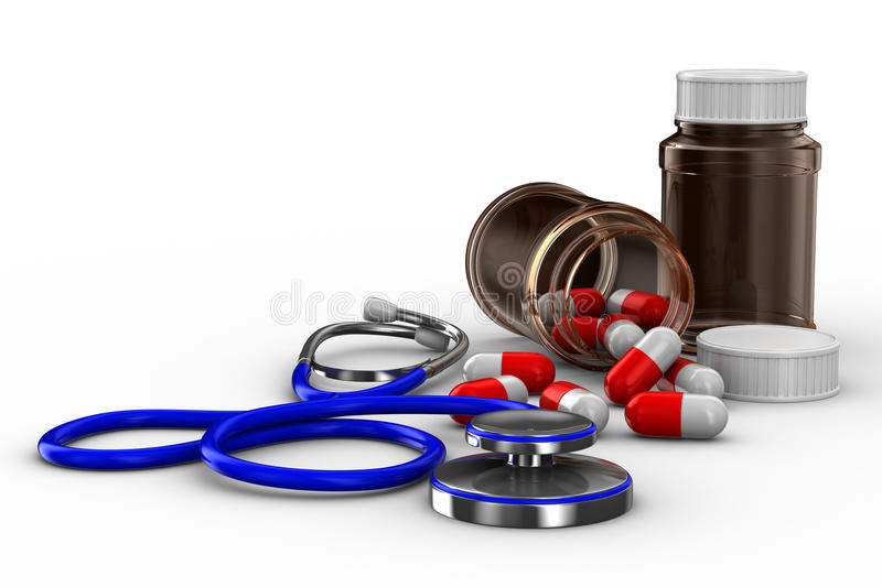 Download Stethoscope And Pills On White Background Royalty Free Stock Photography - Image: 17655657