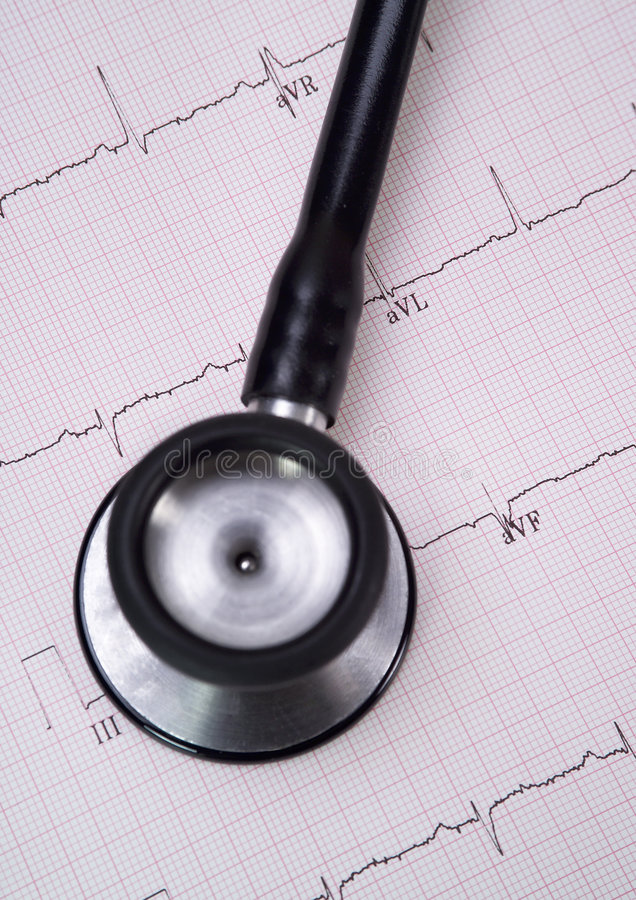 Stethoscope and Real EKG 2 royalty free stock images