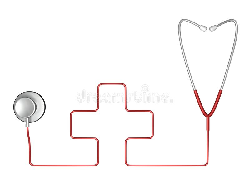 Stethoscope And Red Cross Symbol Of Medicine Royalty Free Stock Photo