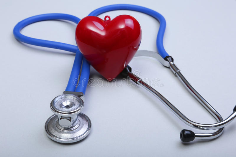 Stethoscope and red heart, isolated on white background.  royalty free stock images