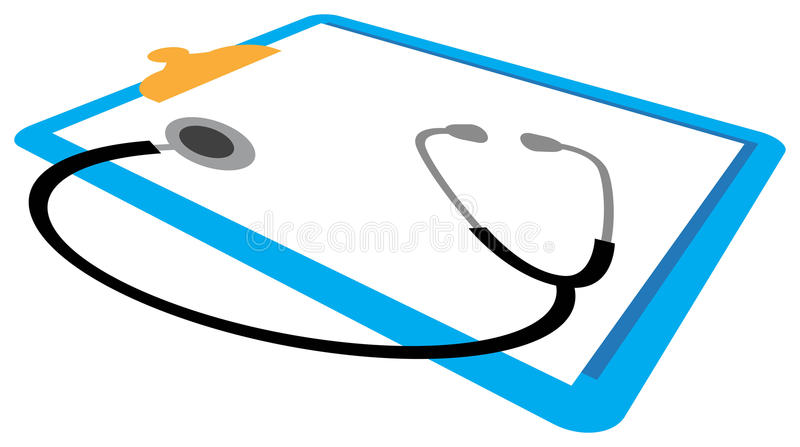 Download Stethoscope and report pad stock vector. Image of instrument - 15012771