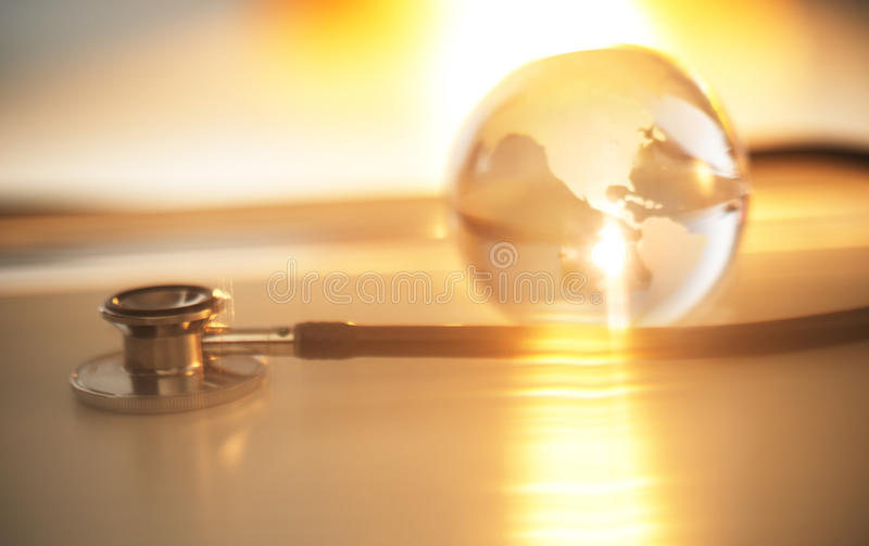 Download Stethoscope's Chestpiece And Crystal Globe Stock Image - Image of closeup, glass: 34130173