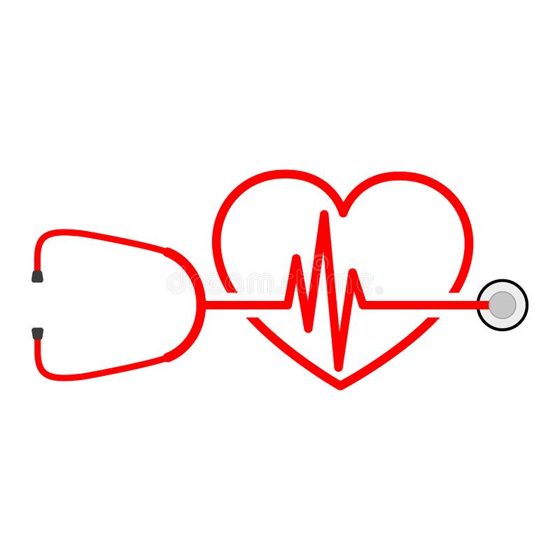 Stethoscope, heartbeat sign and heart. Vector illustration stock illustration