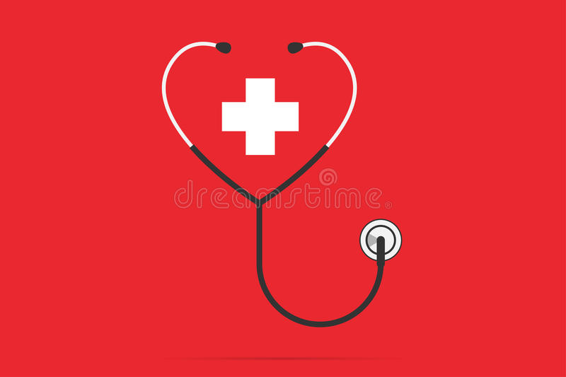 Stethoscope in the shape of a heart with plus symbol, health concept. Vector and illustration stock illustration