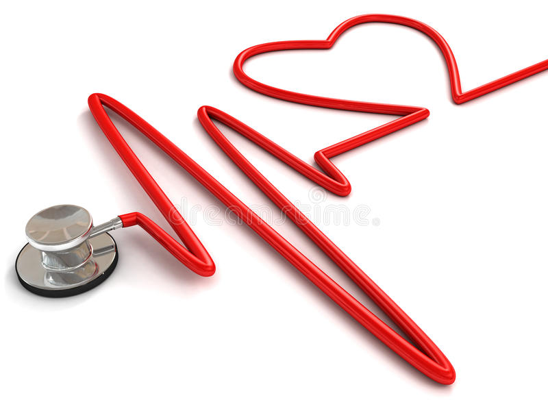 Stethoscope and a silhouette of the heart and ECG. 3d royalty free illustration