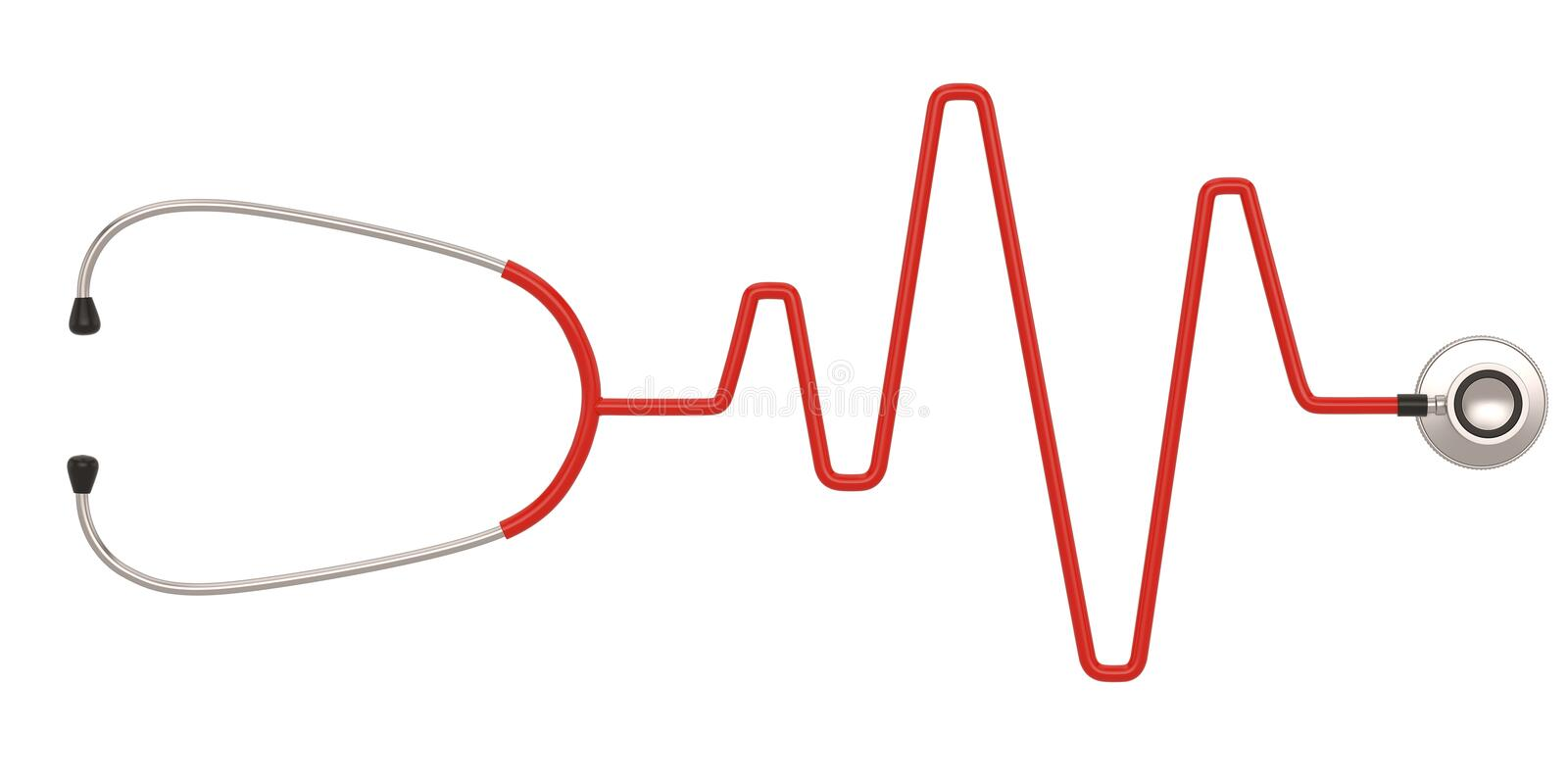 Stethoscope and a silhouette of the heart and ecg. 3D illustration stock illustration