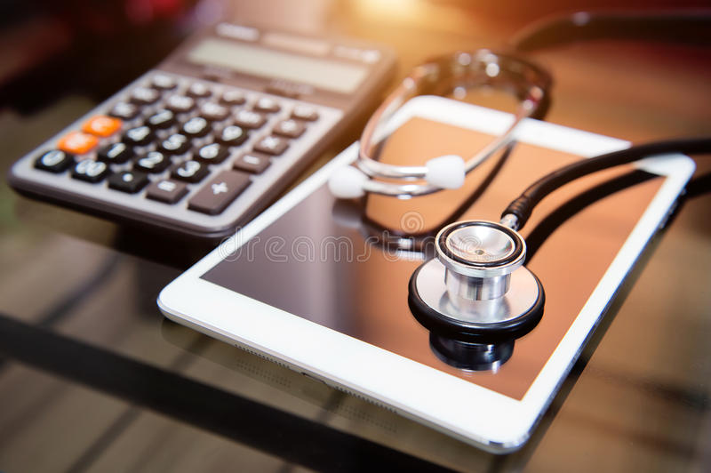 Stethoscope on smartphone. Stethoscope on smartphone, Checking security on smartphone concept stock images