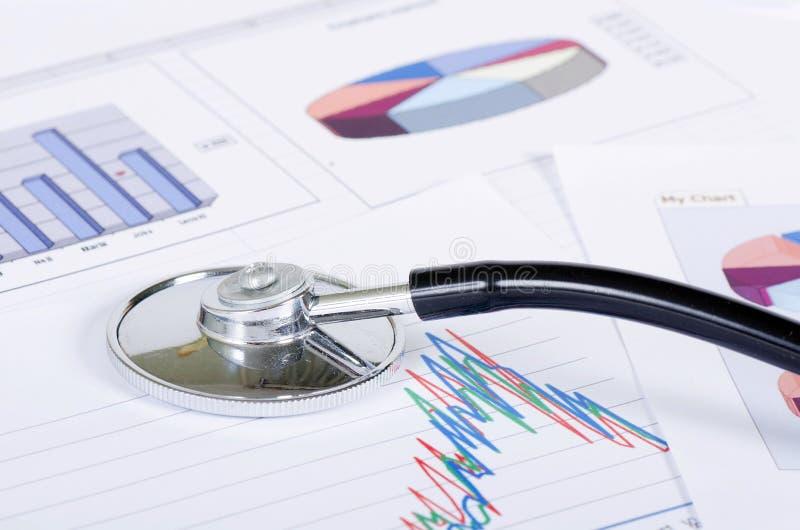 Stethoscope on a stock chart - market analysis royalty free stock photo