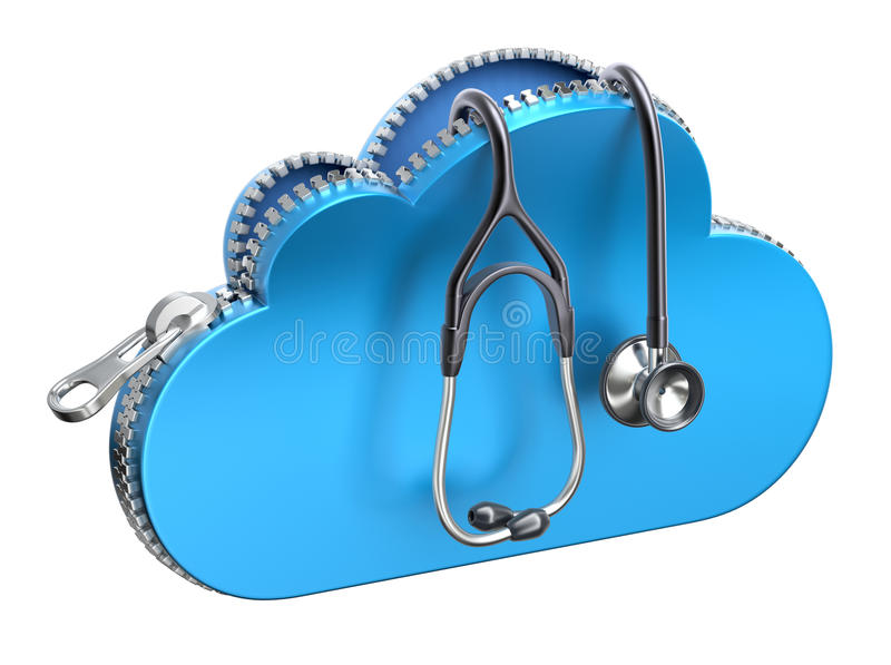 Stethoscope in unzipped 3d cloud icon vector illustration