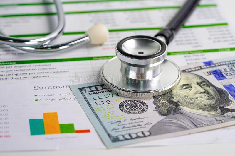 Stethoscope and US dollar banknote money. Finance, Account, Statistics, Investment, Analytic research data economy and Business. Company medical health meeting stock photo