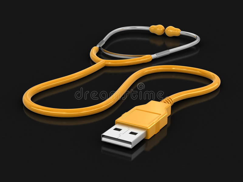 Stethoscope and USB cable. Image with clipping path vector illustration