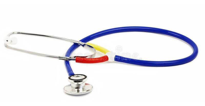 Stethoscope in various colors on white royalty free stock photography