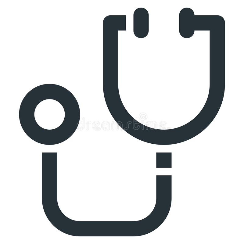 Stethoscope Vector Line Icon 32x32 Pixel Perfect. Editable 2 Pix. El Stroke Weight. Medical Health Icon for Website Mobile App Presentation stock illustration