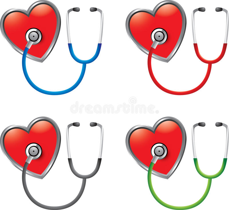 Download Stethoscopes on hearts stock vector. Image of hear, exam - 20115039