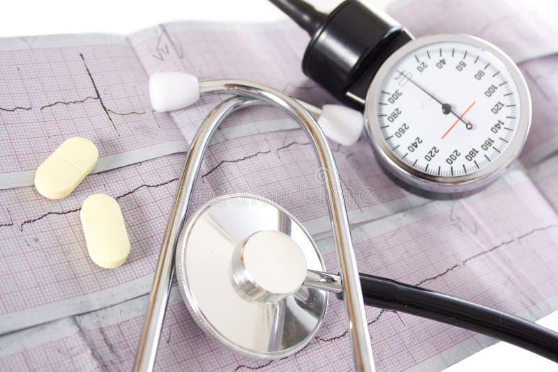 Stethoskop auf einem realen EKG lizenzfreie stockbilder