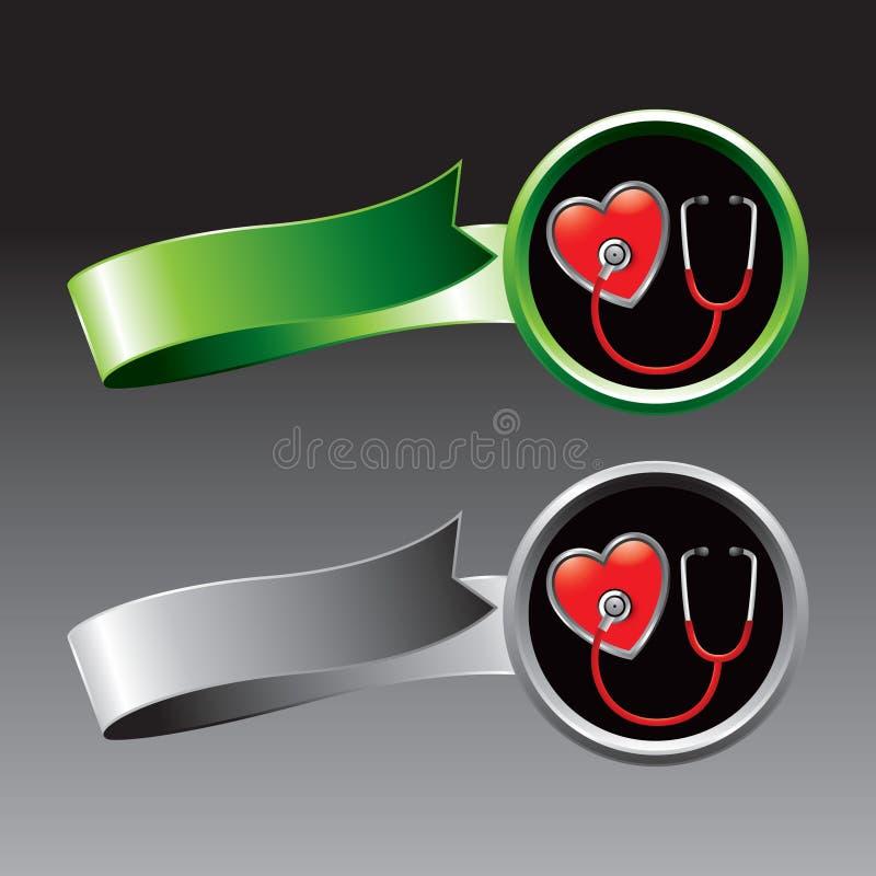 Stethoskop auf Innerem auf Grün und Silberfarbbändern stock abbildung