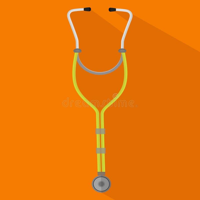 Stethoskop auf orange Hintergrund lizenzfreie abbildung