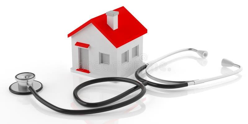 Stethoskop der Wiedergabe 3d und kleines Haus stock abbildung